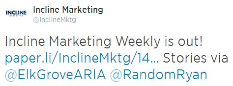 Incline Weekly Tweet