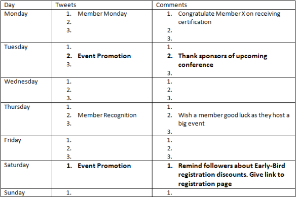 Event Promotion Calendar