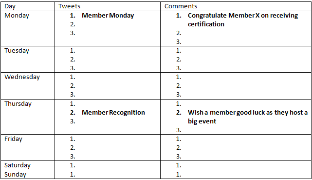 Recognition Calendar